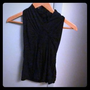 Black halter with gather front detail